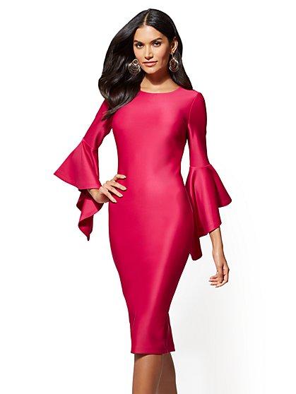 Tiered-Sleeve Sheath Dress - Magenta - New York & Company