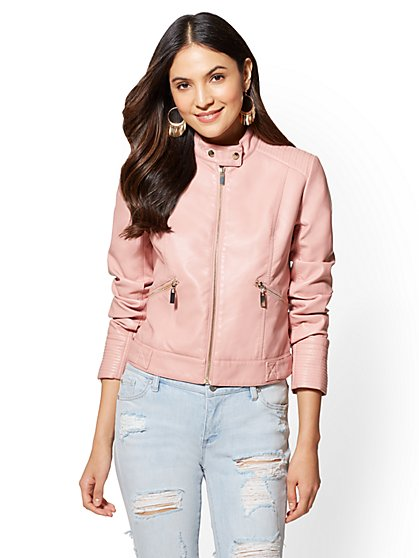 Trapunto-Stitch Moto Jacket - New York & Company