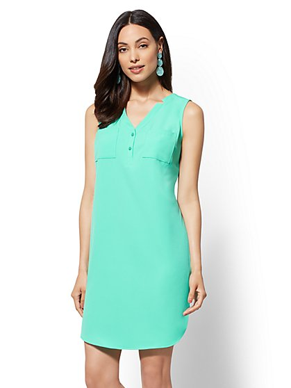 Turquoise Split-neck Shift Dress - New York & Company