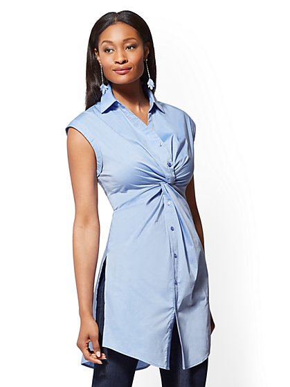 Twist-Front Tunic Shirt - New York & Company