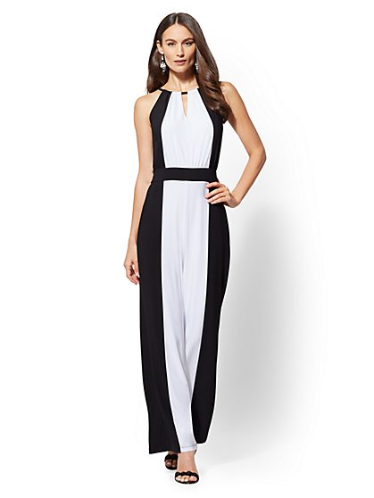 Two-Tone Halter Jumpsuit - New York & Company