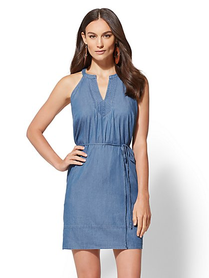 Ultra-Soft Chambray Halter Shift Dress - New York & Company