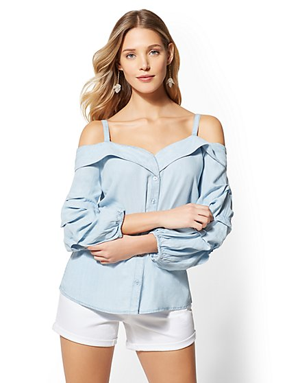 Ultra-Soft Chambray Off-The-Shoulder Shirt - New York & Company