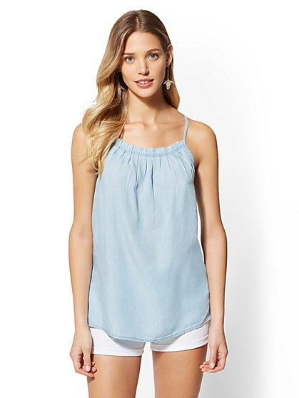 Ultra-Soft Chambray Pleated Halter Top - New York & Company