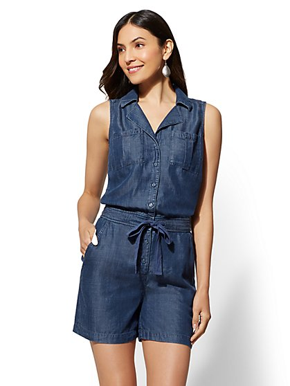 Ultra-Soft Chambray Romper - New York & Company