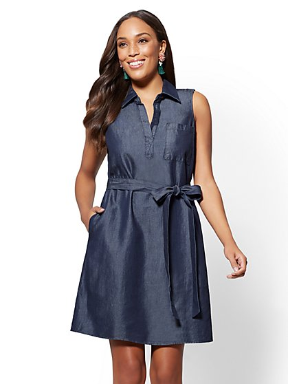 Ultra-Soft Chambray Shirtdress - New York & Company