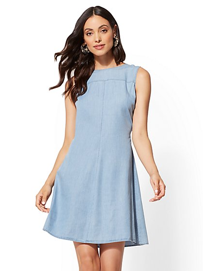 Ultra-Soft Chambray Swing Dress - New York & Company
