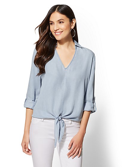 Ultra-Soft Chambray Tie-Front Shirt - New York & Company