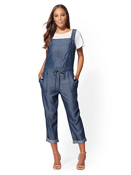 Ultra-Soft Chambray Tie-Waist Overall - New York & Company