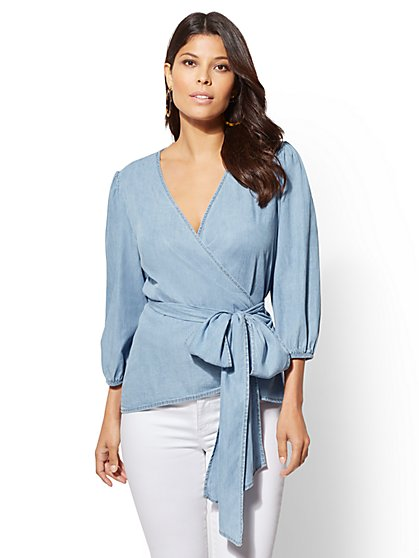 Ultra-Soft Chambray Wrap Blouse - New York & Company