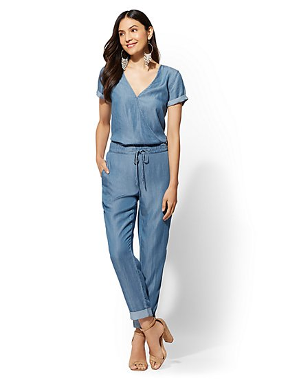 Ultra-Soft Chambray Wrap Jumpsuit - New York & Company