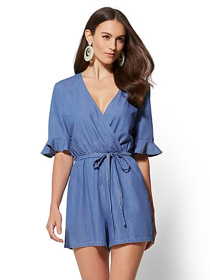Ultra-Soft Chambray Wrap Romper - New York & Company
