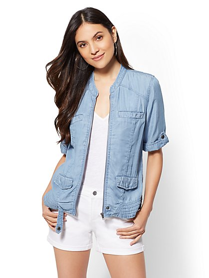 Ultra-Soft Chambray Zip-Front Jacket - New York & Company