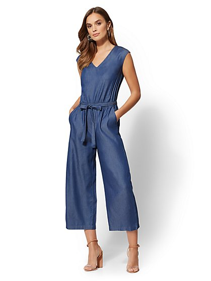 V-Neck Culotte Jumpsuit - Marine Blue - New York & Company