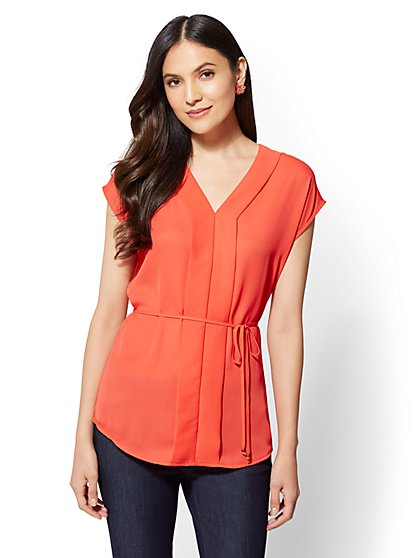 V-Neck Placket Blouse - New York & Company