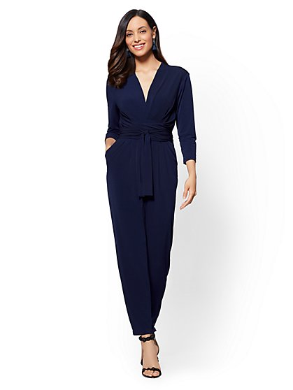 V-Neck Wrap-Detail Jumpsuit - New York & Company