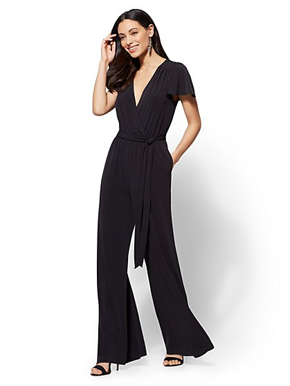 V-Neck Wrap Jumpsuit - New York & Company