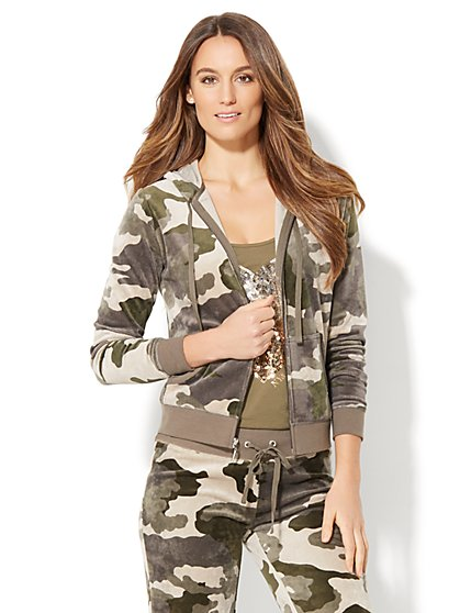 Velour Hoodie Jacket - Camouflage Print - New York & Company