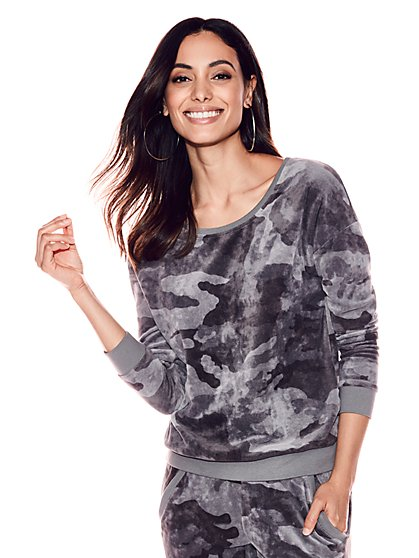 Velour Sweatshirt - Camo Print - New York & Company