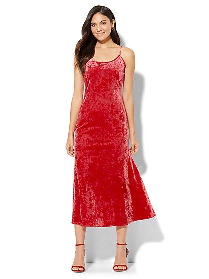 Velvet Midi Slip Dress - New York & Company