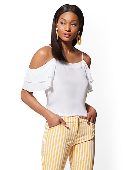 White Cold-Shoulder Blouse - New York & Company