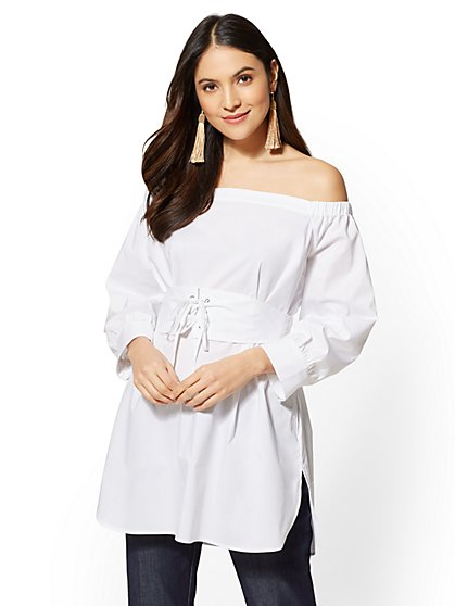White Corset Off-The-Shoulder Shirt - New York & Company