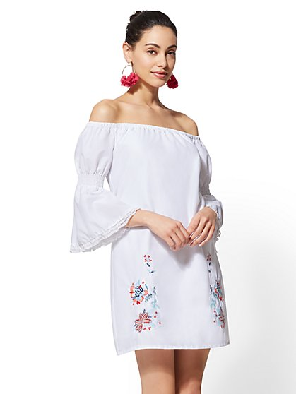 White Embroidered Off-The-Shoulder Shift Dress - New York & Company