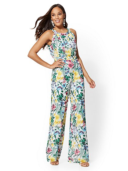 White Floral Halter Jumpsuit - New York & Company