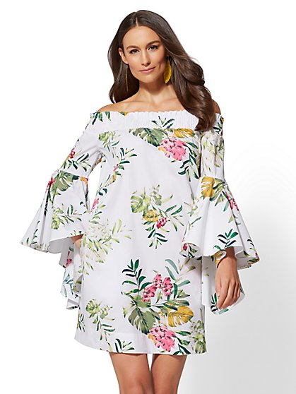 White Floral Off-The-Shoulder Shift Dress - New York & Company