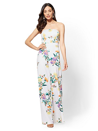 White Floral Strapless Jumpsuit - New York & Company