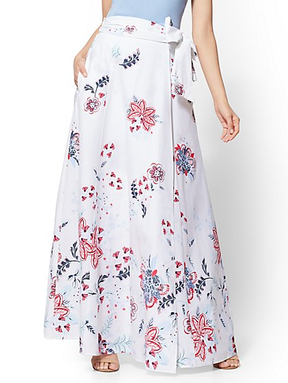 White Floral Wrap Maxi Skirt - New York & Company
