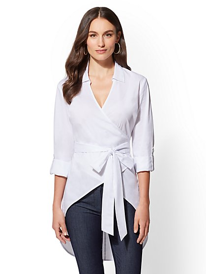 White Hi-Lo Wrap Poplin Shirt - New York & Company