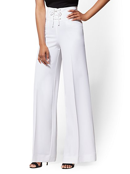 White Lace-Up Palazzo Pant - New York & Company