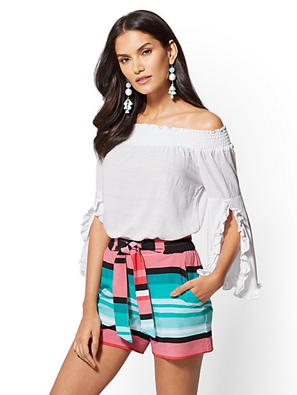 White Off-The-Shoulder Blouse - New York & Company