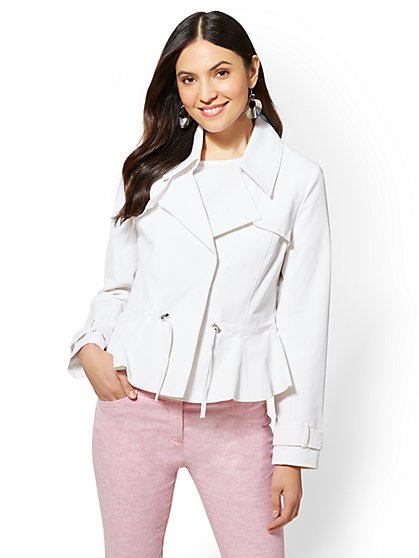 White Peplum Drawstring Jacket - New York & Company