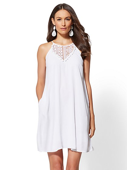 White Pom-Pom & Lace-Trim Trapeze Halter Dress - New York & Company