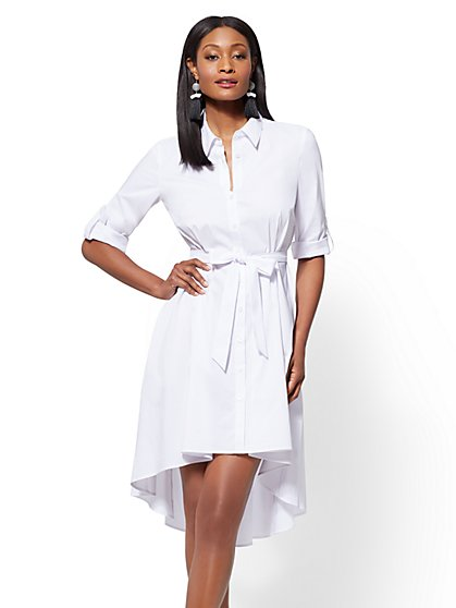 White Poplin Fit and Flare Shirtdress - New York & Company