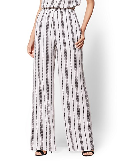 White Print Pull-On Wide-Leg Pant - New York & Company