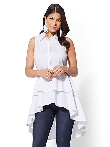 White Ruffled Hi-Lo Polpin Shirt - New York & Company