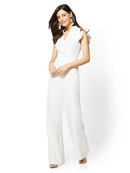 White Ruffled-Sleeve Jumpsuit - New York & Company