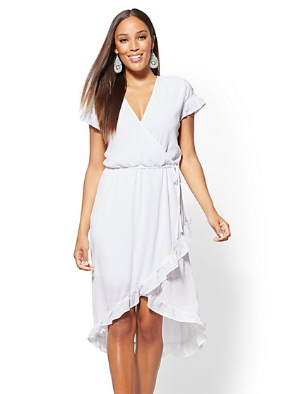 White Ruffled Wrap Midi Dress - New York & Company
