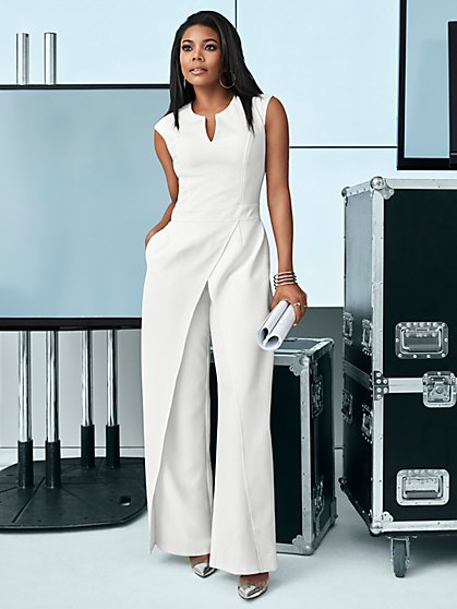 White Seamed Jumpsuit - New York & Company