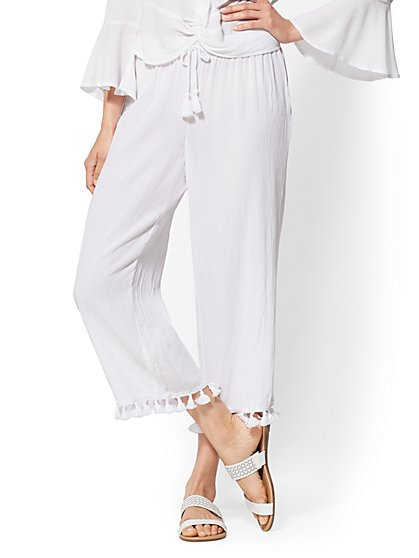 White Tassel-Trim Drawstring-Tie Pant - New York & Company