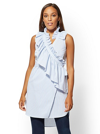White Twist-Front Poplin Tunic Shirt - New York & Company