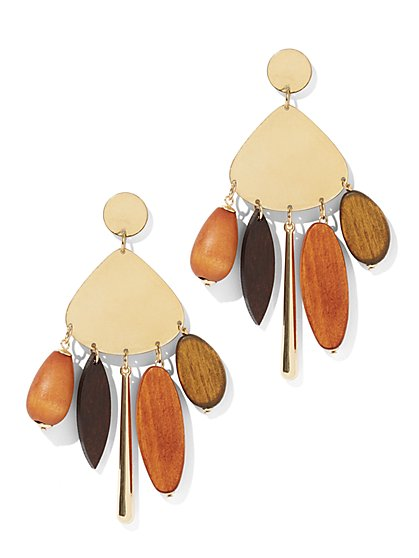 Wooden Bead Statement Drop Earring - New York & Company