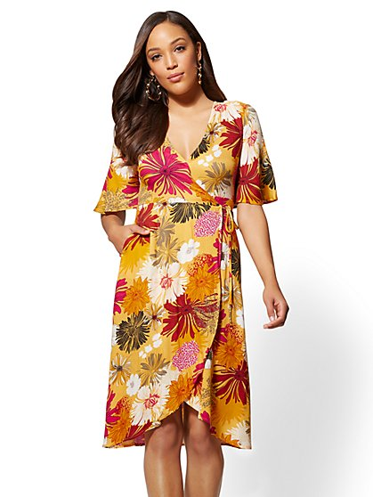 Yellow Floral Fit and Flare Wrap Dress - New York & Company