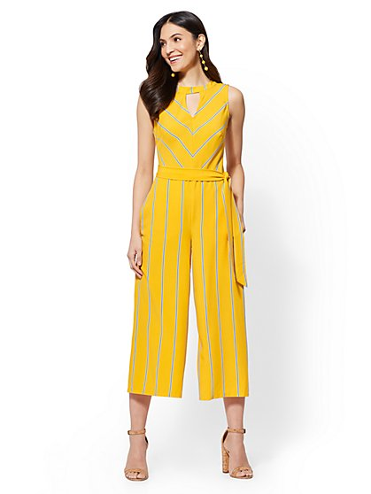 Yellow Striped Culotte Jumpsuit - New York & Company