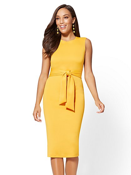 Yellow Tie-Front Sheath Dress - New York & Company