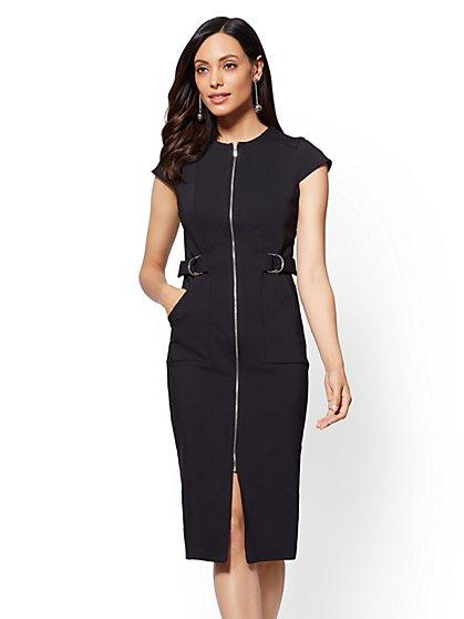 Zip-Accent Black Sheath Dress - New York & Company