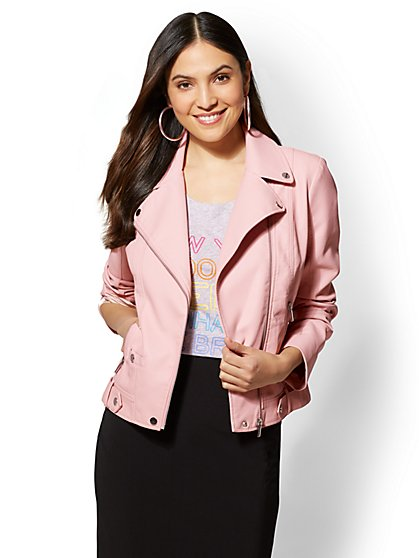 Zip-Accent Faux-Leather Moto Jacket - New York & Company